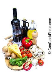 zdrowe jadło, wino