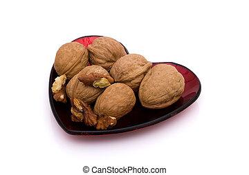 zdrowe serce, walnuts, półmisek, mający kształt