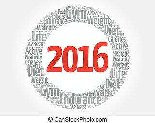 zdrowie, 2016, słowo, chmura