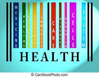 zdrowie, barcode, słowo, barwny
