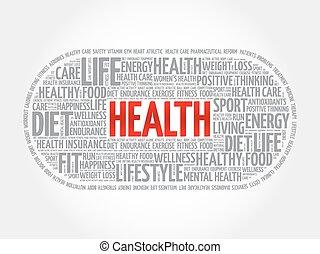 zdrowie, chmura, słowo, stosowność