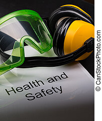 zdrowie i bezpieczeństwo, rejestr, z, okulary ochronne, i, earphones