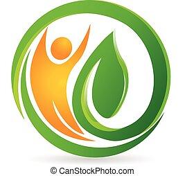 zdrowie, natura, człowiek, wektor, logo