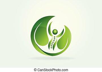 zdrowie, natura, kręgosłup, troska, ikona, logo