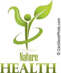 zdrowie, natura, zielony liść, troska, logo, wektor, ikona