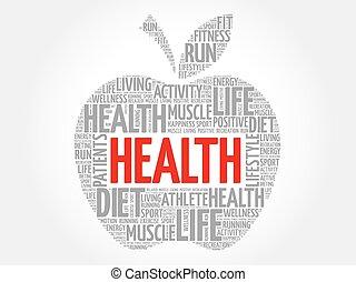 zdrowie, słowo, jabłko, chmura