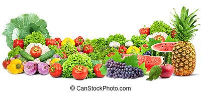 zdrowy, świeża zielenina, barwny, owoce