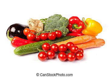 zdrowy, świeża zielenina, białe tło