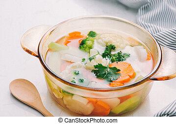 zdrowy, świeża zielenina, sałata, gotowy