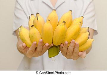 zdrowy, świeży, życie, organiczny, banan