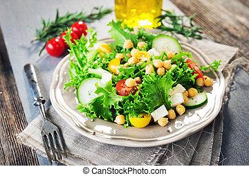 zdrowy, świeży, chickpea, sałata