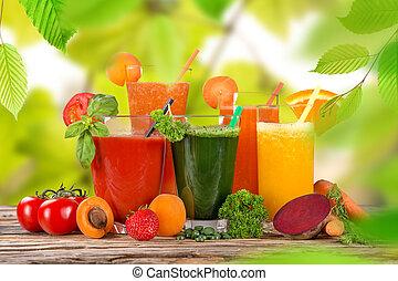 zdrowy, świeży, drinks., sok owocu