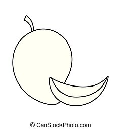 zdrowy, świeży, kromka, owoc, mangowiec