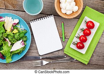 zdrowy, świeży, sałata, mozzarella, pomidory