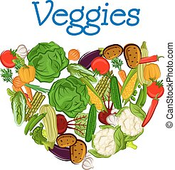 zdrowy, świeży, serce, warzywa
