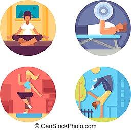 zdrowy, życie, komplet, stosowność, ikony