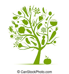 zdrowy, życie, -, zielone drzewo, z, warzywa, dla, twój,...