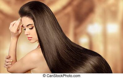 zdrowy, brązowy, hair., piękno, wzór, dziewczyna