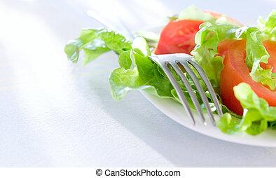 zdrowy, closeup, tło, sałata, jadło.