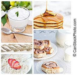 zdrowy, collage, śniadanie