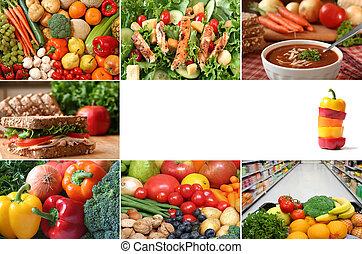 zdrowy, collage, jedzenie