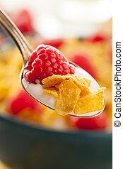 zdrowy, cornflake, zboże