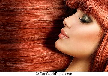 zdrowy, długi, prosty, hair., czerwony włos, wzór, dziewczyna, portret