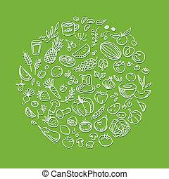zdrowy, doodle, karmowe ikony