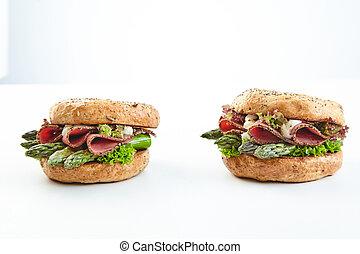 zdrowy, dwa, burgers, zielony, świeży, szparag
