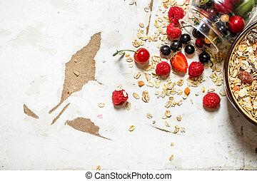 zdrowy, dziki, berries., muesli, jadło.