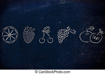 zdrowy, food:, komplet, owoc