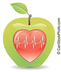 zdrowy, ilustracja, zielone jabłko, serce