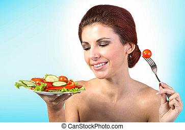 zdrowy, jadło., wegetarianin