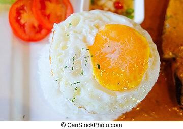 zdrowy, jaja, smażył, zachwycający