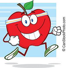 zdrowy, jogging, jabłko, czerwony