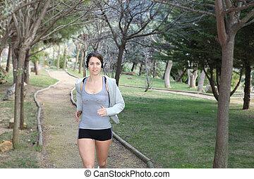 zdrowy, jogging, kobieta bieg, albo