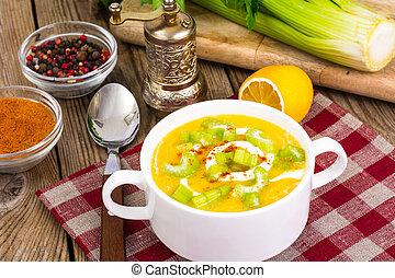 zdrowy, kartofle, dieta, seler, jadło, utłuczony na papkę, roślina