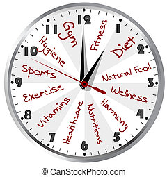 zdrowy, konceptualny, życie, zegar