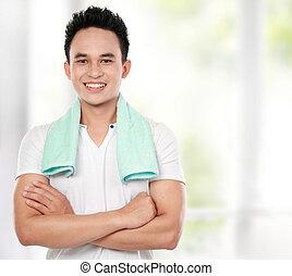 zdrowy lifestyle, uśmiechnięty człowiek