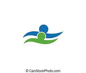 zdrowy, logo, życie, ludzie, pływacki