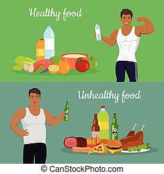 zdrowy, loss., niezdrowy, ciężar, jadło.