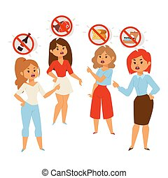 zdrowy, ludzie, dieta, wektor, jedzenie, o, ilustracja, argumentując, jadło, kobiety