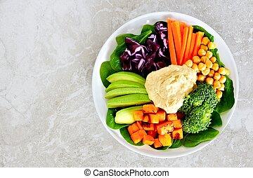 zdrowy lunch, puchar, z, świeża zielenina, i, hummus, na...