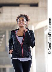 zdrowy, młoda kobieta, ruch, wyścigi, outdoors