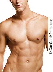 zdrowy, młody, muskularny, człowiek