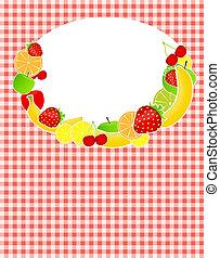 zdrowy, menu, ilustracja, jadło, wektor, szablon