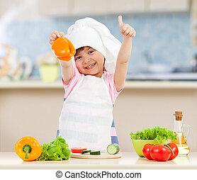 zdrowy, mistrz kucharski, jadło, przygotowując, dziewczyna, kuchnia