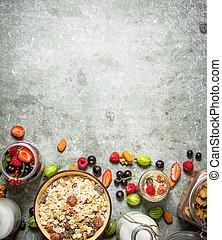 zdrowy, muesli, berries., las, jadło.