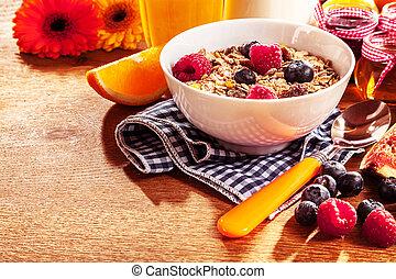 zdrowy, muesli, jagody, puchar, świeży