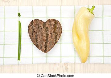 zdrowy, my, miłość, jadło.